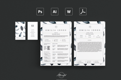 Wattercolor Freather Resume Template /Card Template /FREE Coverletter