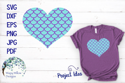 Mermaid Scale Heart SVG