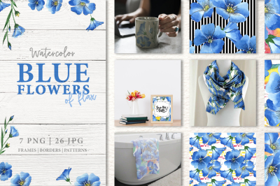 Blue flowers of flax Watercolor png
