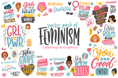 Feminism, vector letterings+graphics