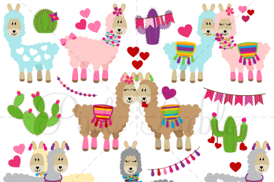 Valentine's Day Llama Clipart and Vectors