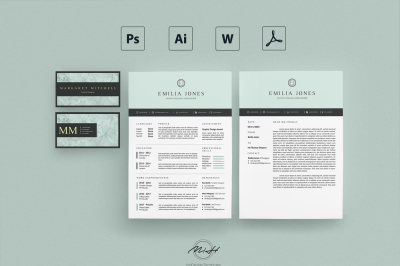 Pastel Blue Resume Template /Card Template /FREE Coverletter