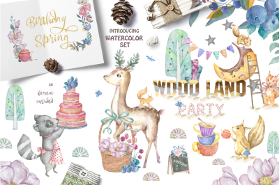 Woodland Party Watercolor Cute Forest Animals