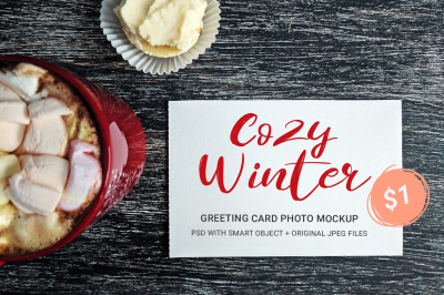 Just $1! Cozy Winter - greeting card photo mockups