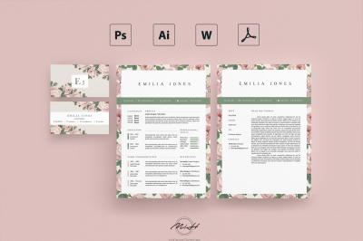 Roses Floral Resume Template /Card Template /FREE Coverletter