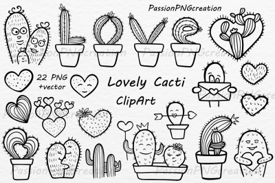 Doodle lovely cacti clipart