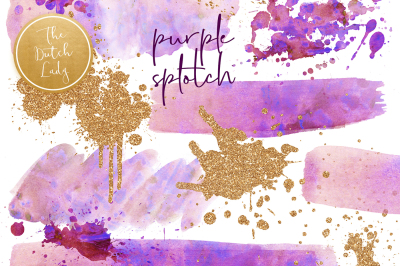 Purple Splotch Watercolor Clipart
