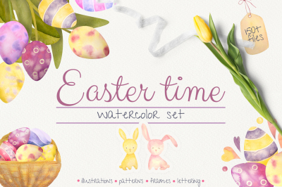 EASTER TIME. Watercolor spring set