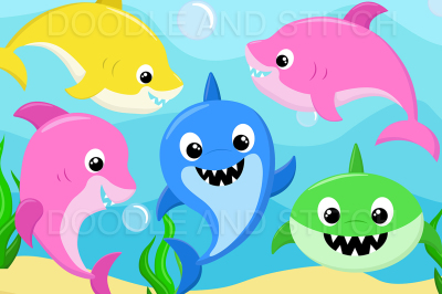 Shark Family Clipart Illustrations