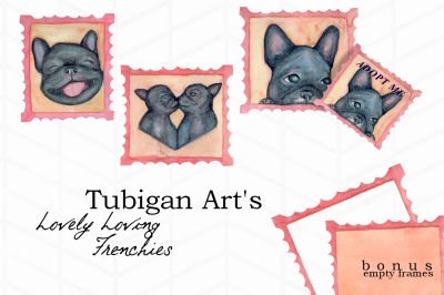 6 Stamps featuring Lovely Loving Frenchies