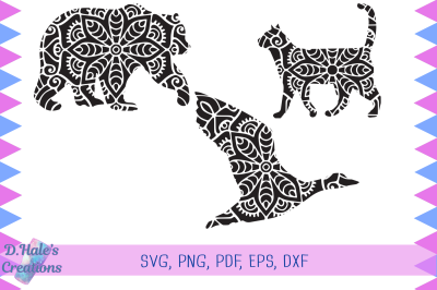 Cat Duck and Bear Mandalas - SVG, PNG, PDF, EPS, DXF, PSD