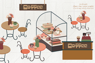 Coffee Shop 01 - Clipart, PNG & Vector Graphics