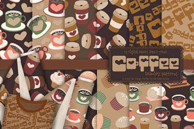 Coffee Shop 01 - Seamless Patterns & Digital Papers