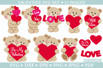 Valentine SVG DXF PNG EPS, Valentine cut files, Cute bear svg