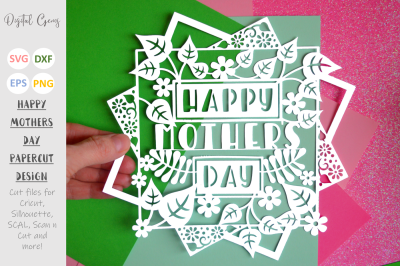Happy Mothers Day papercut design