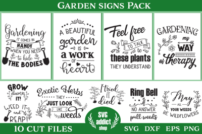 Garden Signs Pack - 10 Cutting Files