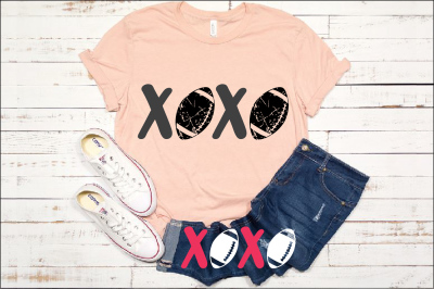 XOXO Football svg Love sweater tackle valentine's day 1173S