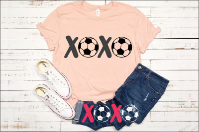 XOXO Soccer Tackle Svg Soccerball Play valentine's day ball Love 1174S