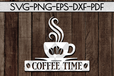 Coffee Time Sign Papercut Template, Cafe Decor SVG, EPS, PDF