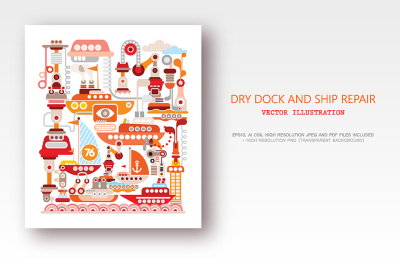 Dry Dock and Ship Repair vector illustration