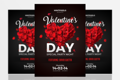 Valentine's Day Party A5 Flyer Template