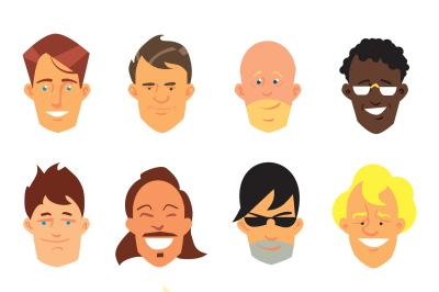 Man smiling face vector avatar icons.