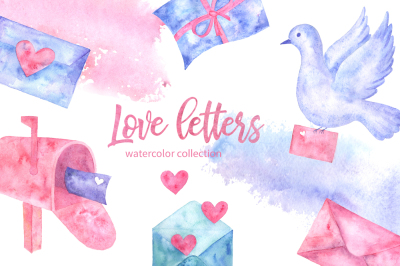 Love letters. Watercolor collection.
