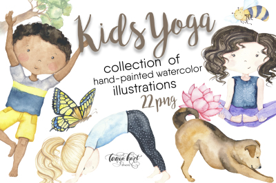 Kids Yoga Watercolor Clip Art