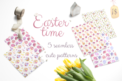 EASTER TIME. set 5 cute seamless patterns