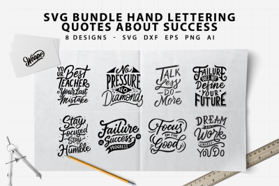 SVG Bundle - Lettering Typography Quotes About Success