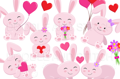Cute Love Bunny Clipart Designs