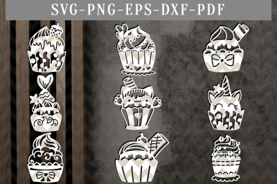 Cupcake Bundle Papercut Template Bundle, Birthday Clipart SVG, DXF PDF
