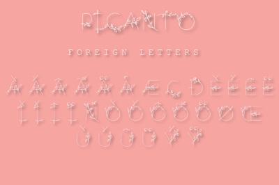 PICANTO Floral Font- ALL CAPS