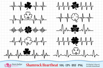 Shamrock Heartbeat SVG