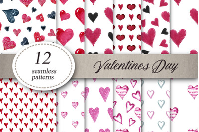 Pink hearts.Valentines Day Seamless Pattern.