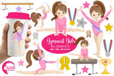 Gymnast girls clipart  MINI-BUNDLE AMB-2136