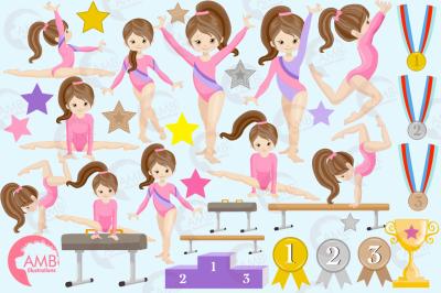Gymnast girls clipart AMB-2136