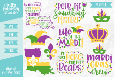 Mardi Gras Bundle SVG DXF - 10 Designs