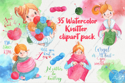 Cute watercolor knitter girl clipart pack