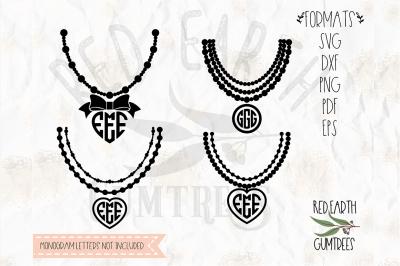 Monogram frame necklace, mardi Gras in SVG,DXF,PNG,EPS,PDF formats