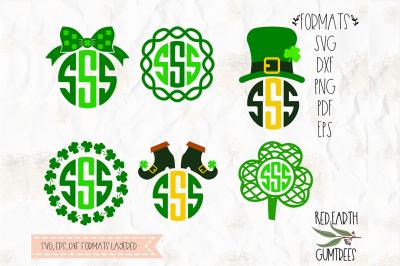 St Patricks day monogram frames bundle in SVG,DXF,PNG,EPS,PDF formats
