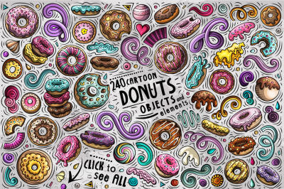 Donuts Cartoon Vector Objects Set