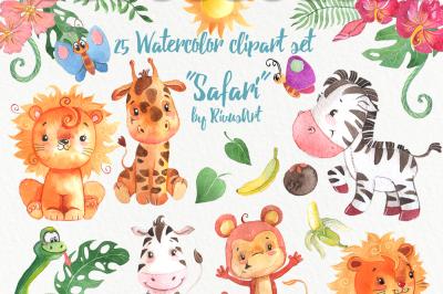 Watercolor safari animals pack