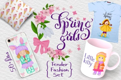 Spring girls: tender fashion set