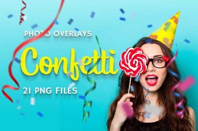 21 Confetti Photo Overlays