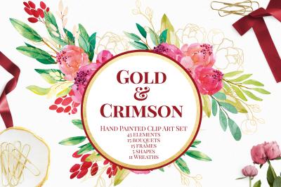 Crimson and Gold Watercolor Florals Clip Art Set
