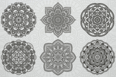 6 Various Hand Drawn Mandalas