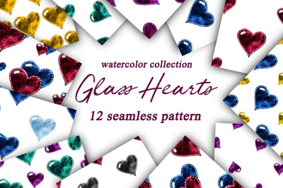 Glass Hearts. Watercolor seamless patterns.