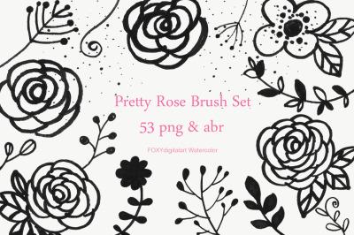Flower doodles hand drawn floral digital stamps