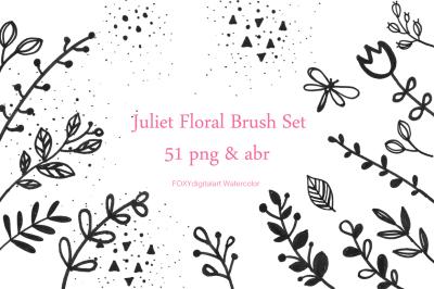 Flower doodles floral digital stamps